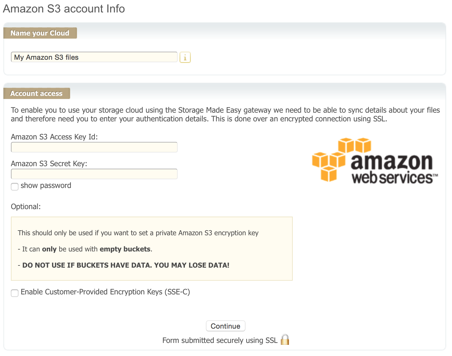 Amazon S3 provider wizard