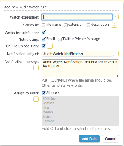 File Audit Watch Notifications