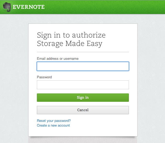 Evernote Authorise