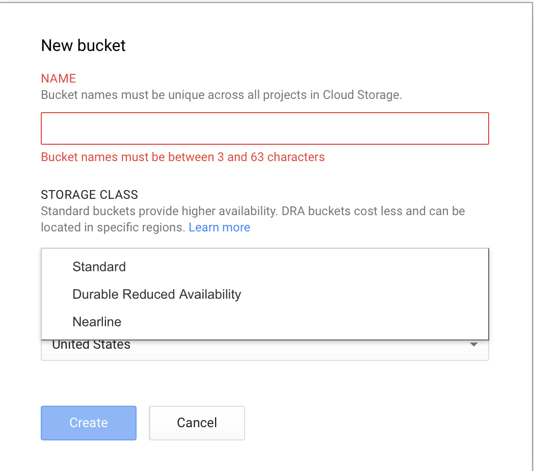 Create Google Nearline Bucket