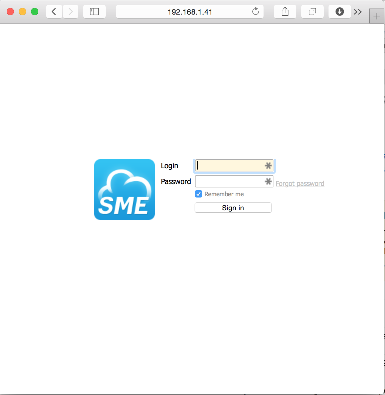 SME Personal Could Appliance Login