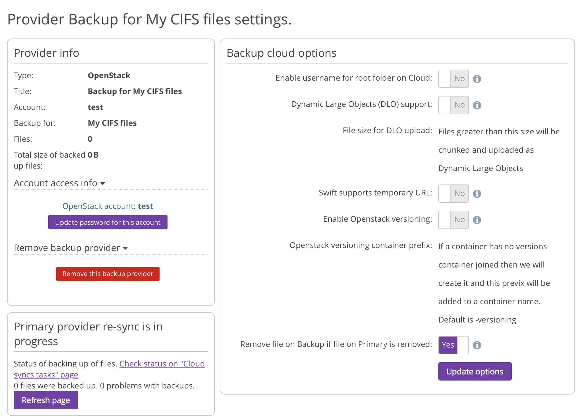 OpenStack CIFS Backup