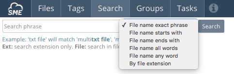 SME File Manager Search Options