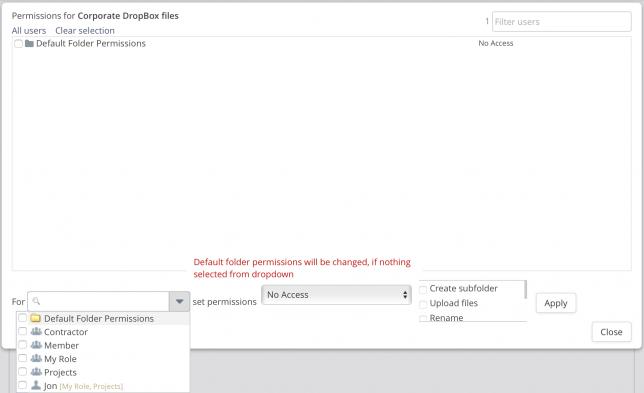 DropBox permissions