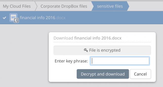 DropBox encrypt files