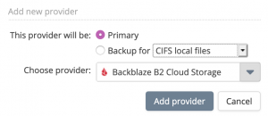 Popup Add new provider showing Backblaze B2 Cloud Storage selected