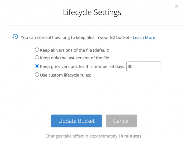 "Panel with Lifecycle Settings for Backblaze bucket. Selected ""Keep prior versions for 30 days"""